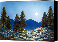 Moonlit Painting Canvas Prints - Moonlit Trail Canvas Print by Frank Wilson