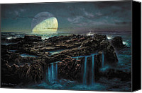 Natural History Canvas Prints - Moonrise 4 Billion BCE Canvas Print by Don Dixon