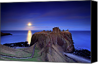 Scotland Canvas Prints - Moonrise Dunnottar Castle Aberdeenshire Scotland Canvas Print by Angus Clyne