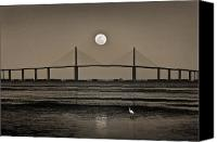 Tampa Bay Florida Canvas Prints - Moonrise Over Skyway Bridge Canvas Print by Steven Sparks