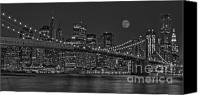 Susan Canvas Prints - Moonrise Over The Brooklyn Bridge BW Canvas Print by Susan Candelario