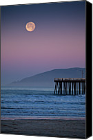 Moon Canvas Prints - Moonset At Pismo Beach Canvas Print by Mimi Ditchie Photography
