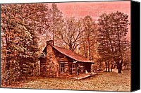 Log Cabin Photo Canvas Prints - Moonshine Canvas Print by Debra and Dave Vanderlaan