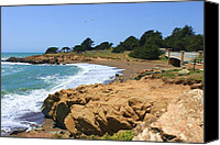 Cambria Photo Canvas Prints - Moonstone Beach Canvas Print by Caroline Lomeli