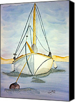 Sailing Greeting Cards Drawings Canvas Prints - Moored at Sea Canvas Print by Eva Ason