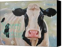 Cow Mixed Media Canvas Prints - Moorry Christmas Canvas Print by Laura Carey