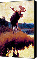 Moose Canvas Prints - Moose Against Skyline Canvas Print by Phillip R Goodwin