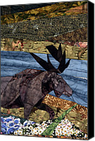 Art Quilt Tapestries - Textiles Canvas Prints - Moose Amongst the Flowers Canvas Print by Linda Beach