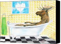 Humor. Painting Canvas Prints - Moose Bath Canvas Print by LeAnne Sowa