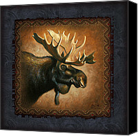 Tribal Art Painting Canvas Prints - Moose Lodge Canvas Print by JQ Licensing