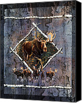 Bull Moose Canvas Prints - Moose Lodge Canvas Print by JQ Licensing