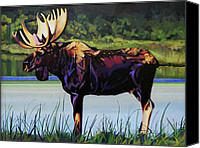 Moose In Water Canvas Prints - Moose River Canvas Print by L V Fry