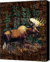 Fisher Canvas Prints - Moose Vignette Canvas Print by JQ Licensing