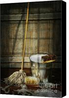 Household Canvas Prints - Mop with bucket and scrub brushes Canvas Print by Sandra Cunningham