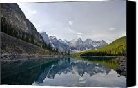Land Feature Canvas Prints - Moraine Lake In Banff National Park Canvas Print by Zoltan Kenwell