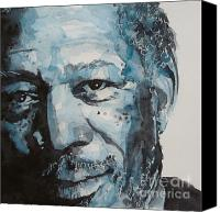 Icon Painting Canvas Prints - Morgan Freeman Canvas Print by Paul Lovering