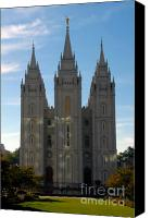 Angel Moroni Canvas Prints - Mormon Temple Fall Canvas Print by David Lee Thompson