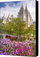 Religions Canvas Prints - Mormon Temple Salt Lake City Canvas Print by Utah Images