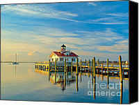 Light Special Promotions - Morning at Roanoke Light Canvas Print by Nick Zelinsky