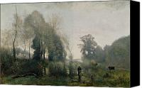 The Shepherdess Canvas Prints - Morning at Ville dAvray Canvas Print by Jean Baptiste Camille Corot