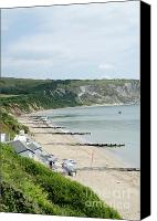 Bay Photo Canvas Prints - MORNING BAY Pt looking up Swanage Bay on a summer morning beach scene Canvas Print by Andy Smy