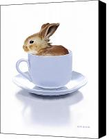 Coffee Cup Canvas Prints - Morning Bunny Canvas Print by Bob Nolin