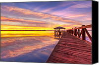 Wood Bridges Canvas Prints - Morning Dock Canvas Print by Debra and Dave Vanderlaan