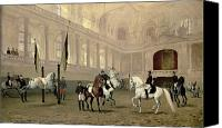 Dressage Canvas Prints - Morning Exercise in the Hofreitschule Canvas Print by Julius von Blaas