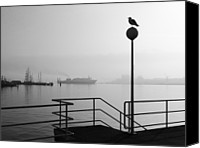 Solitude Canvas Prints - Morning Fog In Kiel Harbour Canvas Print by Copyright by Georg Hörmann