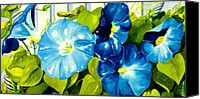 Blue Flowers Painting Canvas Prints - Morning Glories in Blue Canvas Print by Janis Grau