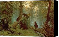 Tree Trunk Canvas Prints - Morning in a Pine Forest Canvas Print by Ivan Ivanovich Shishkin