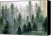 Dewy Painting Canvas Prints - Morning in the Mountains Canvas Print by Shana Rowe