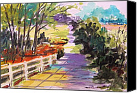 Work On Paper Drawings Canvas Prints - Morning Lane Canvas Print by John  Williams