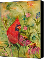 Red Cardinal Canvas Prints - Morning Perch in Red Canvas Print by Renee Chastant