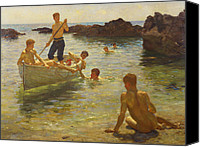 Rocks Painting Canvas Prints - Morning Splendour Canvas Print by Henry Scott Tuke