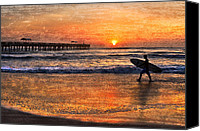 Surfers Canvas Prints - Morning Surf Canvas Print by Debra and Dave Vanderlaan