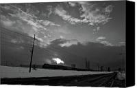 Flurries Canvas Prints - Morning Train in Black and White Canvas Print by Scott Sawyer