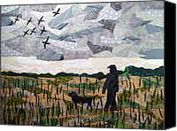 Dogs Tapestries - Textiles Canvas Prints - Morning Walk Canvas Print by Charlene White