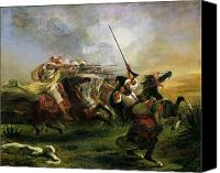 Battles Canvas Prints - Moroccan horsemen in military action Canvas Print by Ferdinand Victor Eugene Delacroix