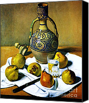 Moroccan Painting Canvas Prints - Moroccan Jug with Pears Canvas Print by Pg Reproductions