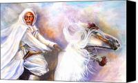 Moroccan Painting Canvas Prints - Moroccan Man Riding Arabian Stallion  Canvas Print by Patricia Rachidi