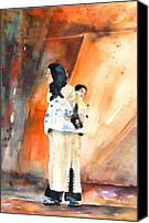 Moroccan Painting Canvas Prints - Moroccan Woman Carrying Baby Canvas Print by Miki De Goodaboom