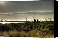 Morris Island Light House Morning Folly Beach Lowcountry South Carolina Landscape Grass Beach Hdr Canvas Prints - Morris Island Lighthouse Canvas Print by Dustin K Ryan