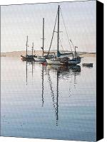 Yachts Digital Art Canvas Prints - Morro Morning Reflection Canvas Print by Sharon Foster