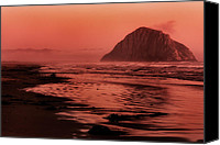 Orange Black Canvas Prints - Morro Sunset Canvas Print by Matt  Trimble