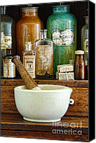 Bottles Canvas Prints - Mortar and Pestle Canvas Print by Jill Battaglia