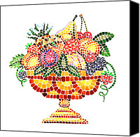 Great Painting Canvas Prints - Mosaic Fruit Vase Canvas Print by Irina Sztukowski