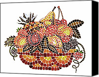Great Painting Canvas Prints - Mosaic Fruits Canvas Print by Irina Sztukowski
