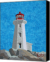 Shore Mixed Media Canvas Prints - Mosaic Lighthouse Canvas Print by Kerri Ertman
