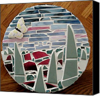 Trivet Ceramics Canvas Prints - Mosaic Sailboats Canvas Print by Jamie Frier